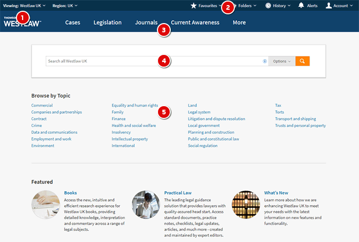 Die neue Westlaw UK Homepage. Copyright: Thomson Reuters