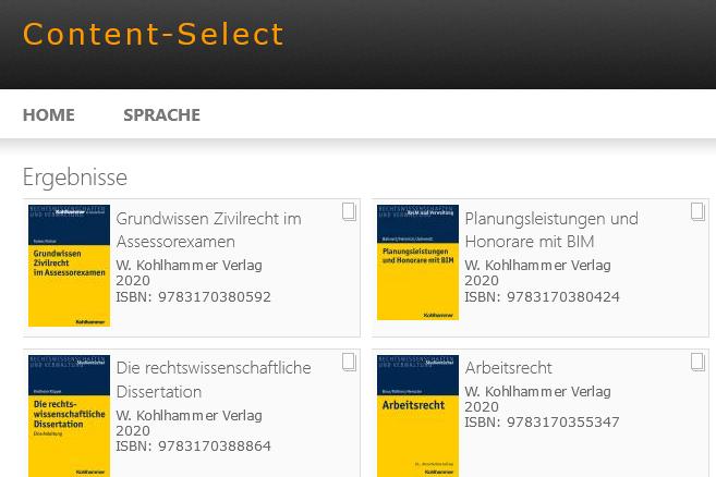 Kohlhammer-Titel auf der Plattform Content-Select